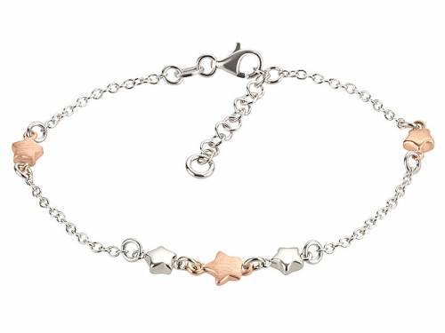 Schmuck-Armband 925er Silber silber/roségoldfarben Karabiner-Verschluss Silber MABRO Steel - Bandlänge ca. 19cm - Bild vergrößern