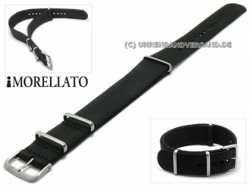 Uhrenarmband -Army- 20mm schwarz Textil NATO-Durchzugsband leicht glänzend von MORELLATO - Bild vergrößern