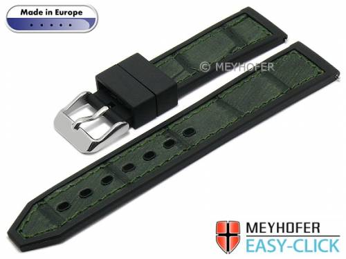 Meyhofer EASY-CLICK Uhrenarmband -Ensley- 22mm schwarz/dgrün Leder/Kautschuk Alligator-Prägung (Schließenanstoß 20 mm) - Bild vergrößern