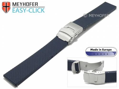 Meyhofer EASY-CLICK Uhrenarmband -Casoria- 22mm dunkelblau Kautschuk gemustert mit Faltschließe (Schließenanstoß 20 mm) - Bild vergrößern
