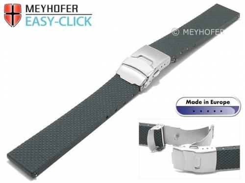 Meyhofer EASY-CLICK Uhrenarmband -Casoria- 24mm mittelgrau Kautschuk gemustert mit Faltschließe (Schließenanstoß 20 mm) - Bild vergrößern