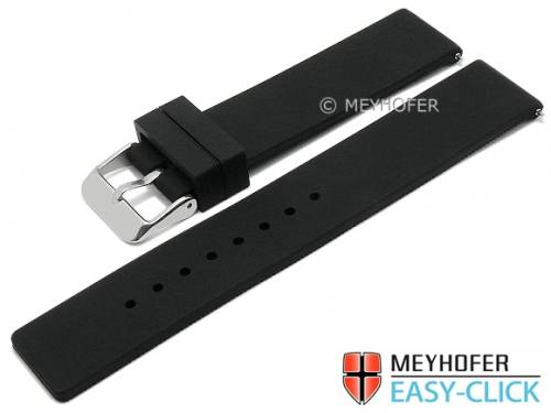 Meyhofer EASY-CLICK Uhrenarmband -Fairbury- 18mm schwarz Silikon glatt ohne Naht (Schließenanstoß 18 mm) - Bild vergrößern