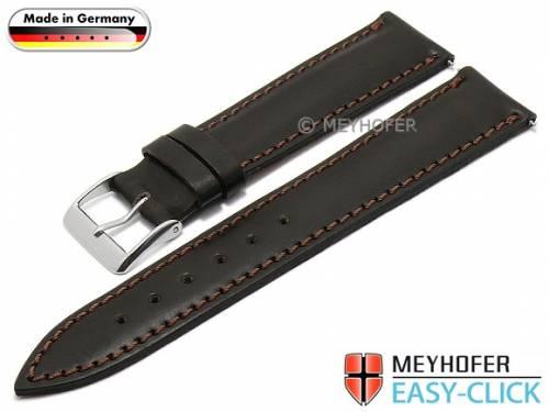 Meyhofer EASY-CLICK Uhrenarmband -Saale- 20mm dunkelbraun Bridle-Leder glatt abgenäht (Schließenanstoß 18 mm) - Bild vergrößern