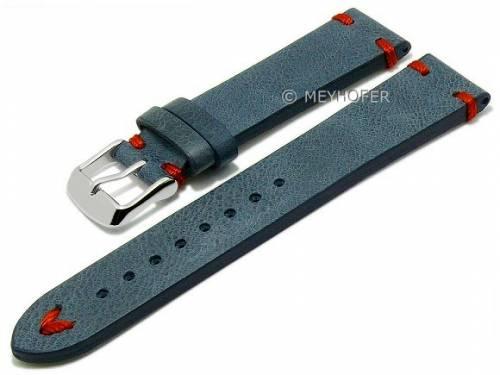 Meyhofer EASY-CLICK Uhrenarmband XS -Ashland- 22mm mittelblau Leder Vintage-Look rote Naht (Schließenanstoß 20 mm) - Bild vergrößern