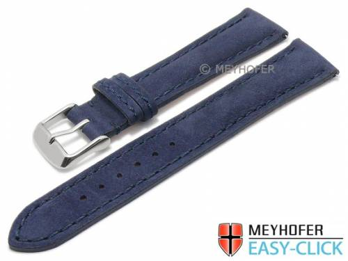 Meyhofer EASY-CLICK Uhrenarmband -Yellowstone- 18mm dunkelblau Leder velourartig abgenäht (Schließenanstoß 16 mm) - Bild vergrößern