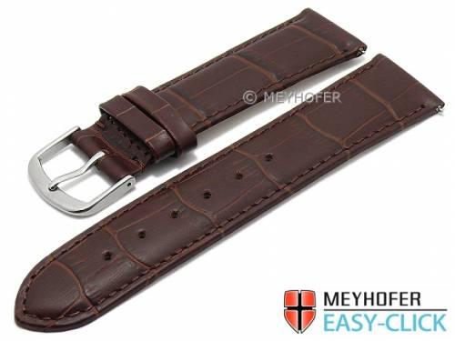 Meyhofer EASY-CLICK Uhrenarmband XS -Biscayne- 20mm dunkelbraun Leder Alligator-Prägung abgenäht (Schließenanstoß 18 mm) - Bild vergrößern