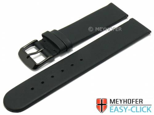 Meyhofer EASY-CLICK Uhrenarmband -Nagano- 24mm schwarz Leder glatt Schließe schwarz (Schließenanstoß 22 mm) - Bild vergrößern