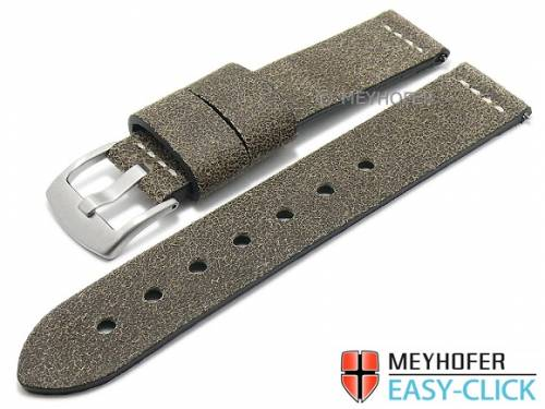 Meyhofer EASY-CLICK Uhrenarmband -Redwood Special- 24mm antikschwarz Leder Antik-Look helle Naht (Schließenanstoß 24 mm) - Bild vergrößern