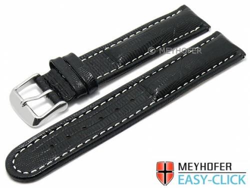 Meyhofer EASY-CLICK Uhrenarmband -Agudo- 20mm schwarz Leder Teju-Prägung helle Naht (Schließenanstoß 20 mm) - Bild vergrößern