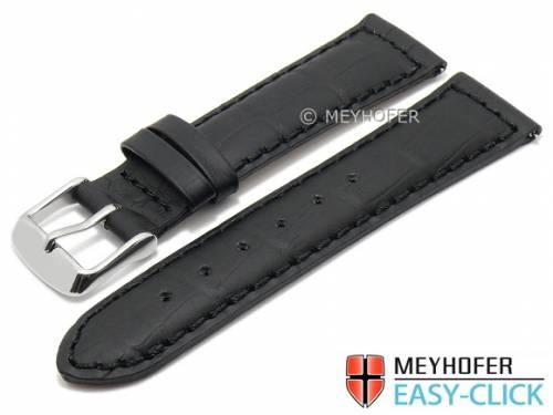 Meyhofer EASY-CLICK Uhrenarmband XS -Bannack- 20mm schwarz Leder Alligator-Prägung abgenäht (Schließenanstoß 18 mm) - Bild vergrößern
