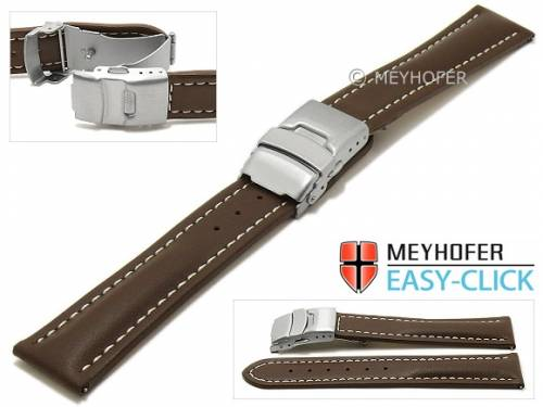 Meyhofer EASY-CLICK Uhrenarmband -Paonia- 20mm dunkelbraun Leder glatt helle Naht Faltschließe (Schließenanstoß 18 mm) - Bild vergrößern