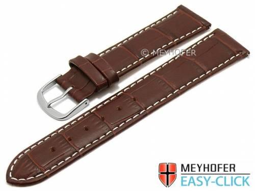 Meyhofer EASY-CLICK Uhrenarmband -Ruston- 22mm dunkelbraun Leder Alligator-Prägung helle Naht (Schließenanstoß 20 mm) - Bild vergrößern
