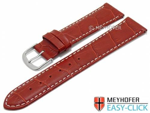 Meyhofer EASY-CLICK Uhrenarmband -Ruston- 24mm rot Leder Alligator-Prägung helle Naht (Schließenanstoß 22 mm) - Bild vergrößern