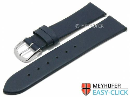 Meyhofer EASY-CLICK Uhrenarmband XS -Tampa- 18mm dunkelblau Leder glatt ohne Naht (Schließenanstoß 16 mm) - Bild vergrößern