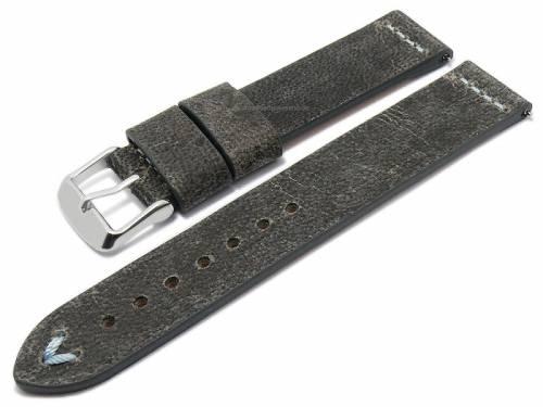 Meyhofer EASY-CLICK Uhrenarmband -Revheim- 20mm dunkelgrau Kamelleder Vintage-Look h.blaue Naht (Schließenanstoß 20 mm) - Bild vergrößern