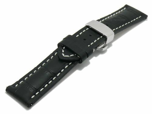 Meyhofer EASY-CLICK Uhrenarmband XS -Pirmasens- 18mm schwarz Leder Alligator-Präg. Faltschließe (Schließenanstoß 16 mm) - Bild vergrößern