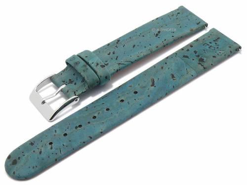Meyhofer EASY-CLICK Uhrenarmband -Tavira- 18mm türkis echt Kork VEGAN matt (Schließenanstoß 18 mm) - Bild vergrößern