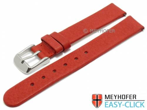 Meyhofer EASY-CLICK Uhrenarmband -Albany- 14mm rot Leder vegetabil ohne Naht (Schließenanstoß 14 mm) - Bild vergrößern