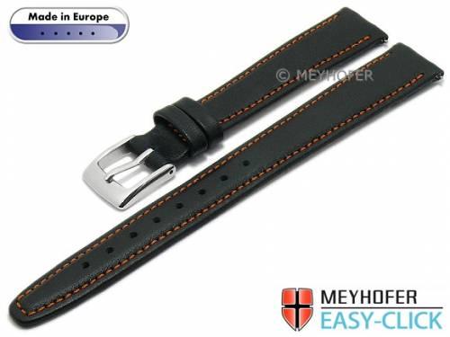 Meyhofer EASY-CLICK Uhrenarmband -Maribor Special- 14mm schwarz Leder glatt orange Naht (Schließenanstoß 12 mm) - Bild vergrößern