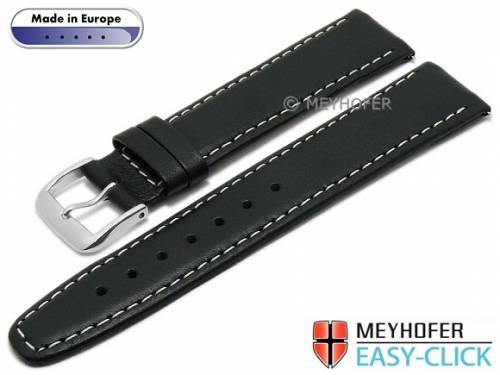 Meyhofer EASY-CLICK Uhrenarmband -Maribor- 16mm schwarz Leder glatt helle Naht (Schließenanstoß 14 mm) - Bild vergrößern