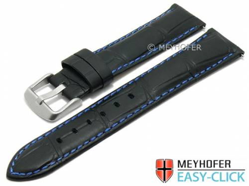Meyhofer EASY-CLICK Uhrenarmband -Bahia Special- 20mm schwarz Leder Allig.-Prägung blaue Naht (Schließenanstoß 18 mm) - Bild vergrößern