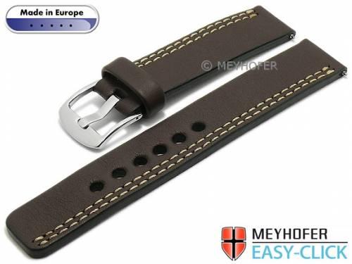 Meyhofer EASY-CLICK Uhrenarmband -Wollin- 20mm dunkelbraun Leder helle einseitige Doppelnaht (Schließenanstoß 20 mm) - Bild vergrößern