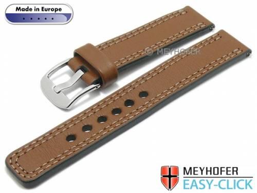 Meyhofer EASY-CLICK Uhrenarmband -Narew- 22mm mittelbraun Leder glatt Doppelnaht (Schließenanstoß 22 mm) - Bild vergrößern