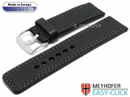 Meyhofer EASY-CLICK Uhrenarmband -Narew- 26mm schwarz Leder graue Doppelnaht (Schließenanstoß 26 mm) - Bild vergrößern