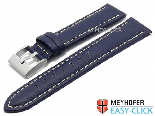 Meyhofer EASY-CLICK Uhrenarmband -Warnick- 20mm dunkelblau Lorica helle Naht (Schließenanstoß 18 mm) - Bild vergrößern