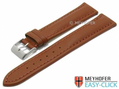 Meyhofer EASY-CLICK Uhrenarmband -Brandon- 20mm rotbraun Leder glatt abgenäht (Schließenanstoß 18 mm) - Bild vergrößern