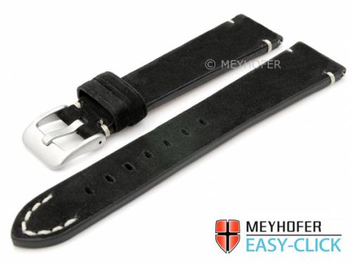 Meyhofer EASY-CLICK Uhrenarmband -Crowford- 18mm schwarz Leder velourartig helle Naht (Schließenanstoß 16 mm) - Bild vergrößern
