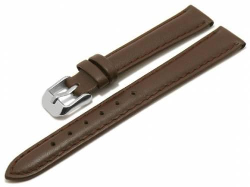 MEYHOFER Basic Uhrenarmband -Talca- 14mm dunkelbraun Leder glatt abgenäht (Schließenanstoß 12 mm) - Bild vergrößern