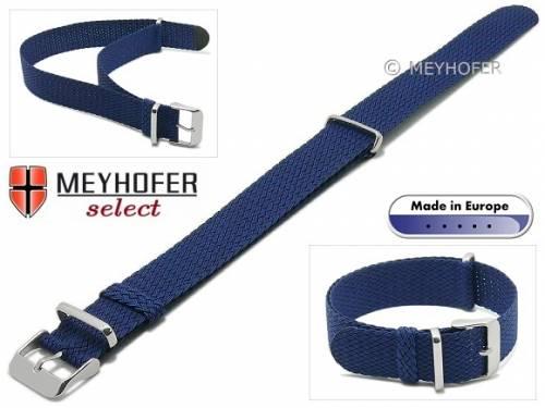 Uhrenarmband -Prattville- 18mm mittelblau Perlon/Textil NATO-Look Durchzugsband von MEYHOFER - Bild vergrößern