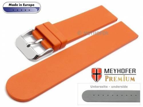 Uhrenarmband -Aracena- 20mm orange Kautschuk glatt matt von MEYHOFER (Schließenanstoß 20 mm) - Bild vergrößern
