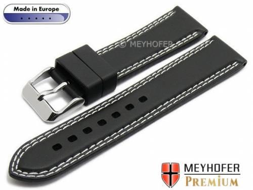 Uhrenarmband -Calgary Sport- 20mm schwarz Kautschuk glatt helle Doppelnaht von MEYHOFER (Schließenanstoß 18 mm) - Bild vergrößern