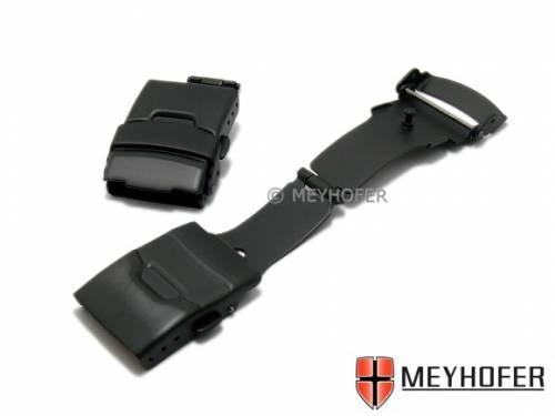 Sicherheitsfaltschließe -Cannstatt- 20mm schwarz Edelstahl gebürstet mit seitlichen Drückern - Bild vergrößern