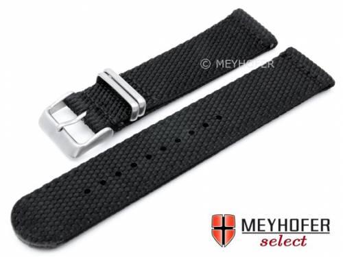 Uhrenarmband -Apolda- 22mm schwarz Nylon/Textil Military-Look NATO-Design von Meyhofer - Bild vergrößern