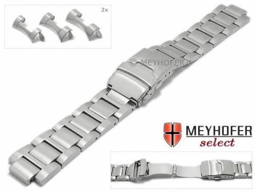 Uhrenarmband -Badalona- 18-20-22mm Edelstahl massiv matt Rundanstoß von MEYHOFER - Bild vergrößern