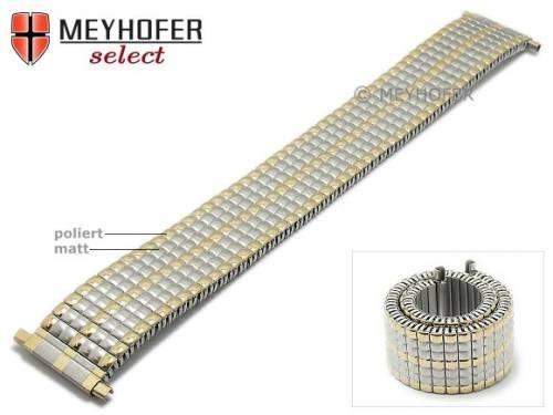 Uhrenarmband -Princeton- 18-20mm bicolor Edelstahl-Zugband mit Teleskop-Anstoß von MEYHOFER - Bild vergrößern