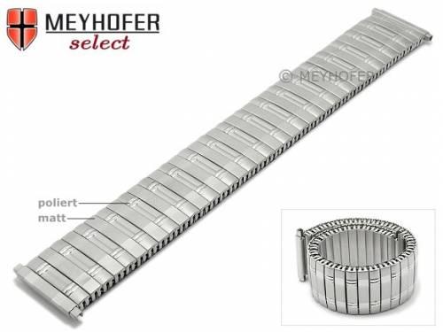 Uhrenarmband -Perth- 16-18mm Edelstahl-Zugband mit Teleskop-Anstoß teilweise poliert von MEYHOFER - Bild vergrößern