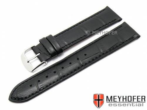 Uhrenarmband -Davos- 24mm schwarz Leder Alligator-Prägung abgenäht von MEYHOFER (Schließenanstoß 22 mm) - Bild vergrößern