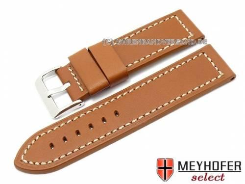 Uhrenarmband -Menaggio- 26mm hellbraun Sattelleder glatt helle Naht von MEYHOFER (Schließenanstoß 26 mm) - Bild vergrößern