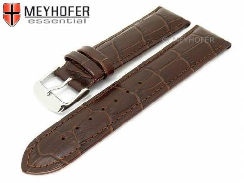 Uhrenarmband -Glendale- 18mm dunkelbraun Leder Alligator-Prägung abgenäht von MEYHOFER (Schließenanstoß 16 mm) - Bild vergrößern