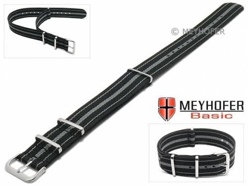 MEYHOFER Basic Uhrenarmband -Abilene- 22mm schwarz Synthetik/Textil graue Streifen 3 Metallschlaufen Durchzugsband - Bild vergrößern