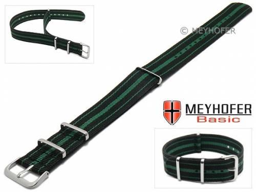MEYHOFER Basic Uhrenarmband -Abilene- 20mm schwarz Synthetik/Textil grüne Streifen 3 Metallschlaufen Durchzugsband - Bild vergrößern