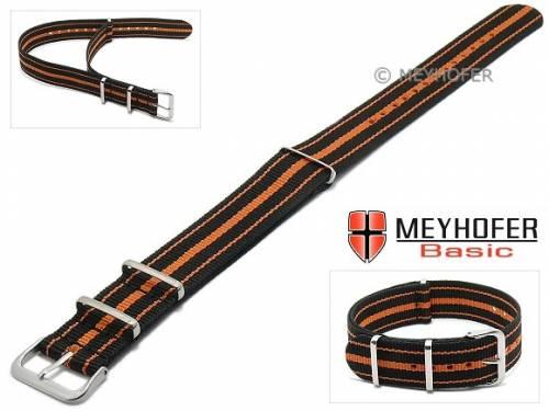 MEYHOFER Basic Uhrenarmband -Abilene- 22mm schwarz Synthetik/Textil orange Streifen 3 Metallschlaufen Durchzugsband - Bild vergrößern