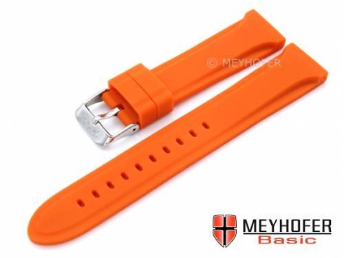 MEYHOFER Basic Uhrenarmband -Peoria- 24mm orange Silikon glatt matt (Schließenanstoß 22 mm) - Bild vergrößern