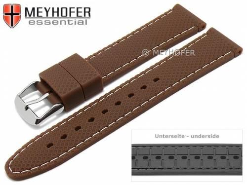 Uhrenarmband -Gatlinburg- 18mm mittelbraun Silikon gemustert matt helle Naht von MEYHOFER (Schließenanstoß 16 mm) - Bild vergrößern