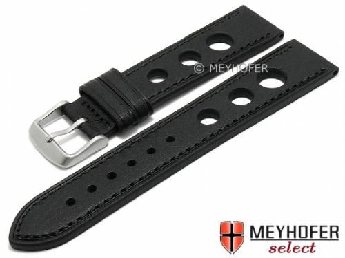 Uhrenarmband -Danville- 20mm schwarz Leder Racing-Look abgenäht von MEYHOFER (Schließenanstoß 18 mm) - Bild vergrößern