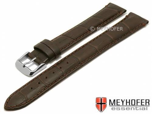 Uhrenarmband XL superlang -Covington- 22mm dunkelbraun Leder Alligator-Prägung abgenäht MEYHOFER (Schließenanstoß 20 mm) - Bild vergrößern